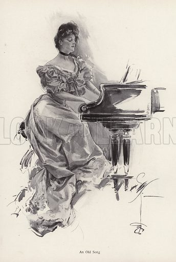 Woman playing a song on a piano. Illustration from The Harrison Fisher Book (Charles Scribner's Sons, New York, 1908).