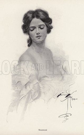 Portrait of a woman named Rosamond. Illustration from The Harrison Fisher Book (Charles Scribner's Sons, New York, 1908).