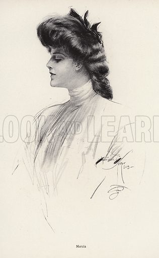 Portrait of a woman named Marcia. Illustration from The Harrison Fisher Book (Charles Scribner's Sons, New York, 1908).