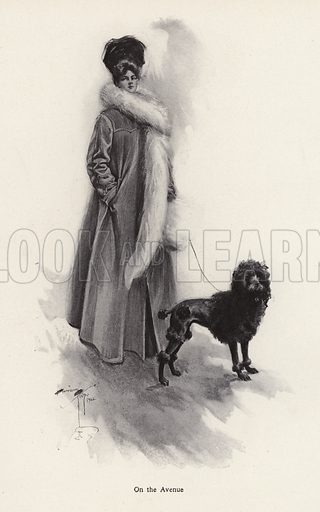 Woman in a long coat with a poodle. Illustration from The Harrison Fisher Book (Charles Scribner's Sons, New York, 1908).