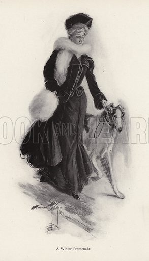 Woman walking her rough collie dog in the winter. Illustration from The Harrison Fisher Book (Charles Scribner's Sons, New York, 1908).