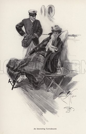 Captain on board a ship talking to a woman convalescent. Illustration from The Harrison Fisher Book (Charles Scribner's Sons, New York, 1908).