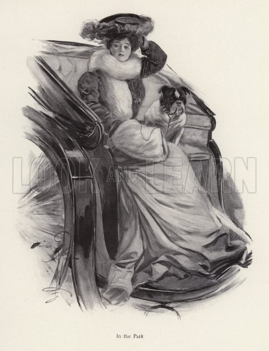 Woman sitting in a carriage with her dog. Illustration from The Harrison Fisher Book (Charles Scribner's Sons, New York, 1908).