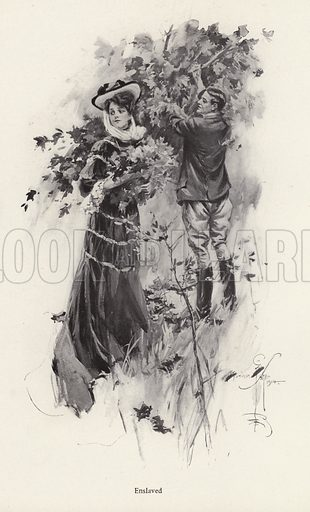 Woman picking flowers with a male admirer. Illustration from The Harrison Fisher Book (Charles Scribner's Sons, New York, 1908).
