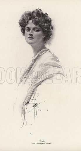 A character, Sylvia, from the novel, The Opened Shutters, by Clara Louise Burnham. Illustration from The Harrison Fisher Book (Charles Scribner's Sons, New York, 1908).