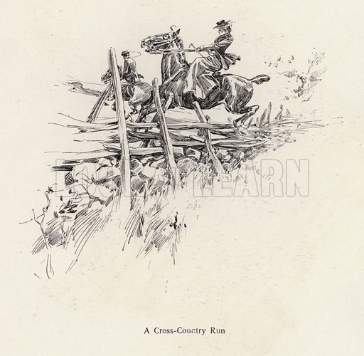 Man and woman on horseback during a cross-country run. Illustration from The Harrison Fisher Book (Charles Scribner's Sons, New York, 1908).