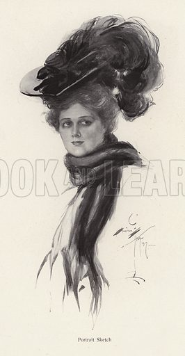 Portrait of a woman in a large hat. Illustration from The Harrison Fisher Book (Charles Scribner's Sons, New York, 1908).