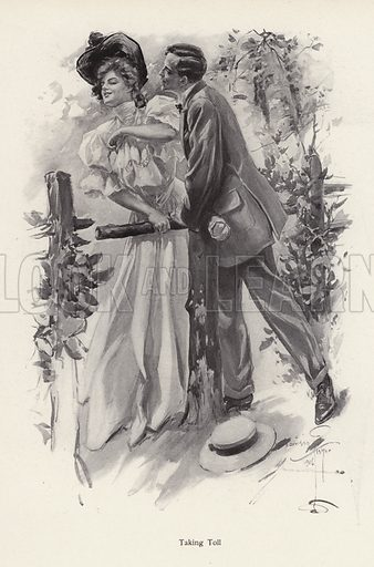 Man trying to steal a kiss from a young woman. Illustration from The Harrison Fisher Book (Charles Scribner's Sons, New York, 1908).