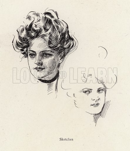 Pen sketches of a young woman. Illustration from The Harrison Fisher Book (Charles Scribner's Sons, New York, 1908).