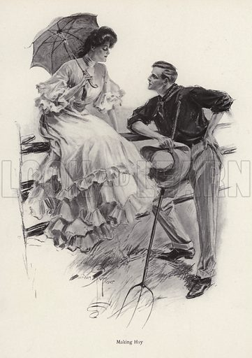 A farmer pauses in his work to flirt with a young woman. Illustration from The Harrison Fisher Book (Charles Scribner's Sons, New York, 1908).