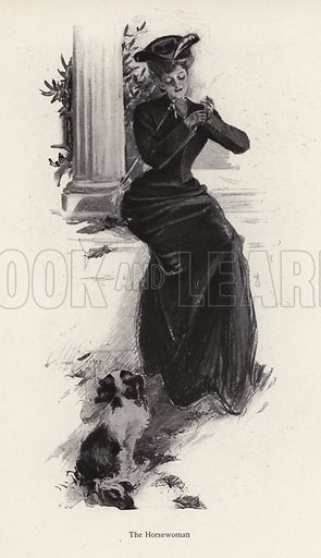 Young woman and her dog waiting to go horse riding. Illustration from The Harrison Fisher Book (Charles Scribner's Sons, New York, 1908).