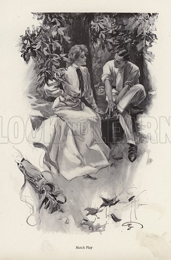 Romantic couple taking a break from their game of golf. Illustration from The Harrison Fisher Book (Charles Scribner's Sons, New York, 1908).
