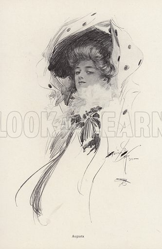 Portrait of a woman named Augusta. Illustration from The Harrison Fisher Book (Charles Scribner's Sons, New York, 1908).