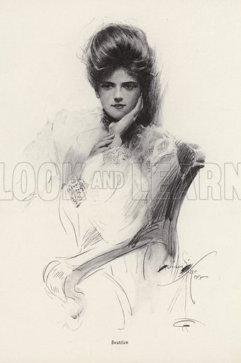 Portrait of a woman named Beatrice. Illustration from The Harrison Fisher Book (Charles Scribner's Sons, New York, 1908).