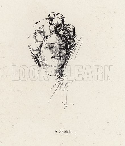 Pen sketch portrait of a woman. Illustration from The Harrison Fisher Book (Charles Scribner's Sons, New York, 1908).