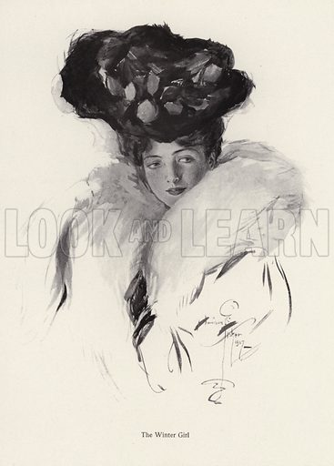Portrait of a young woman in a hat and fur coat. Illustration from The Harrison Fisher Book (Charles Scribner's Sons, New York, 1908).