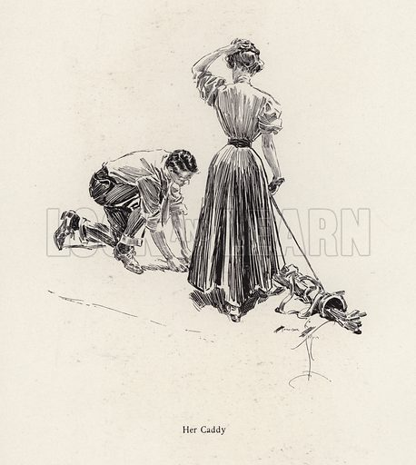 Man caddying for a woman on the golf course. Illustration from The Harrison Fisher Book (Charles Scribner's Sons, New York, 1908).