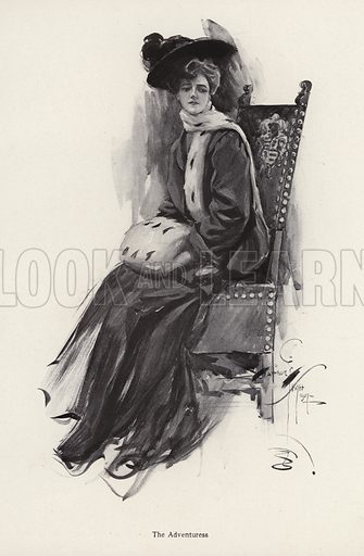 Portrait of a woman wearing winter clothes. Illustration from The Harrison Fisher Book (Charles Scribner's Sons, New York, 1908).