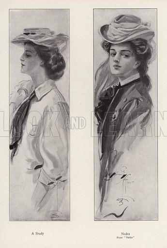 The character Nedra from the novel Nedra, by George Barr McCutcheon. Illustration from The Harrison Fisher Book (Charles Scribner's Sons, New York, 1908).