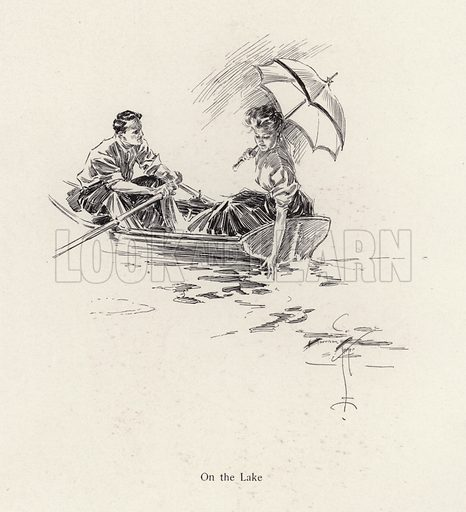 Man and woman in a rowing boat on the lake. Illustration from The Harrison Fisher Book (Charles Scribner's Sons, New York, 1908).