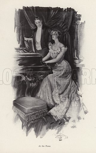 Woman singing at the piano. Illustration from The Harrison Fisher Book (Charles Scribner's Sons, New York, 1908).