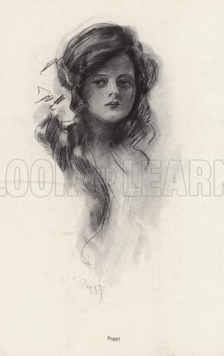 Portrait of a young girl named Peggy. Illustration from The Harrison Fisher Book (Charles Scribner's Sons, New York, 1908).