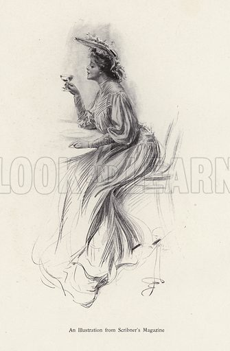 Woman with a drink. Illustration from The Harrison Fisher Book (Charles Scribner's Sons, New York, 1908).