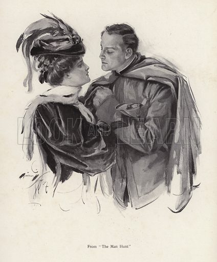 Scene from The Man Hunt. Illustration from The Harrison Fisher Book (Charles Scribner's Sons, New York, 1908).