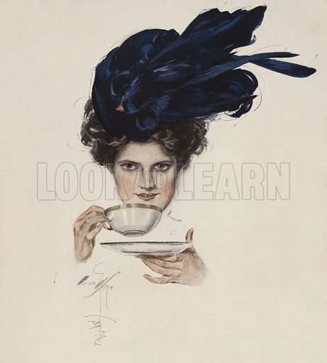 Portrait of a woman in a fancy hat drinking tea. Illustration from The Harrison Fisher Book (Charles Scribner's Sons, New York, 1908).