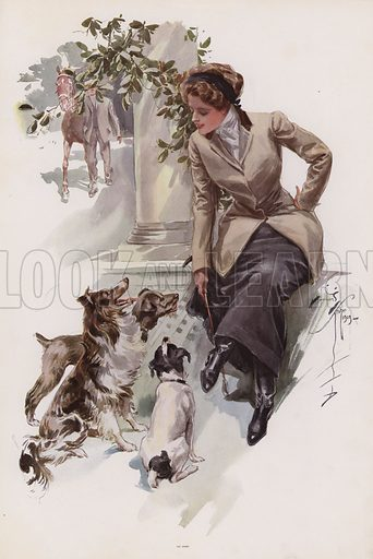 Young woman in her riding habit sitting with her dogs. Illustration from Pictures in Color (Charles Scribner's Sons, New York, 1910).