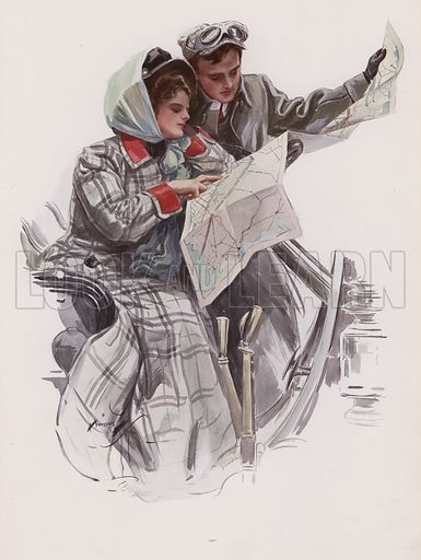 Man and woman reading a map in a car. Illustration from Pictures in Color (Charles Scribner's Sons, New York, 1910).