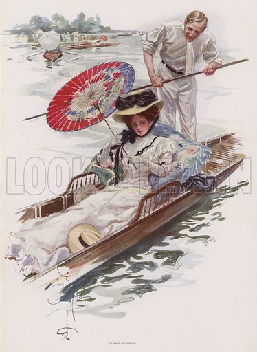 Young American woman enjoying a punt ride on an English river