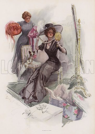 Young American woman trying on hats at a French milliners. Illustration from Pictures in Colour (Charles Scribner's Sons, New York, 1910).