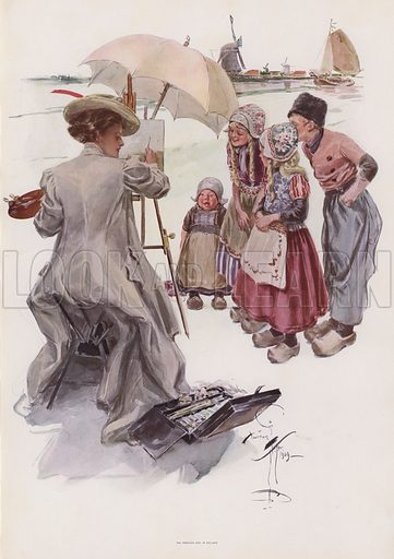 Young American woman painting a Dutch scene. Illustration from Pictures in Color (Charles Scribner's Sons, New York, 1910).