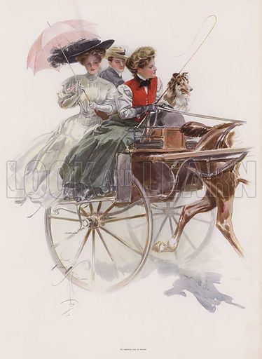 Young American woman riding in a gig or similar one horse carriage in Ireland. Illustration from Pictures in Color (Charles Scribner's Sons, New York, 1910).