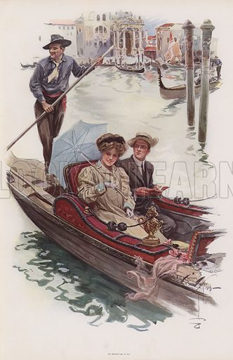 Young American woman taking a ride in a gondola, Venice. Illustration from Pictures in Color (Charles Scribner's Sons, New York, 1910).