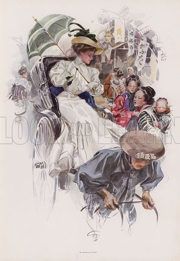 Young American woman riding in a Japanese rickshaw. Illustration from Pictures in Color (Charles Scribner's Sons, New York, 1910).