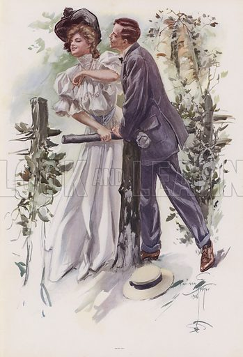 Man trying to steal a kiss from a young woman. Illustration from Pictures in Color (Charles Scribner's Sons, New York, 1910).