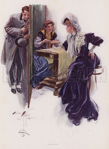 Young woman having her future told by a Gypsy. Illustration from Pictures in Colour (Charles Scribner's Sons, New York, 1910).
