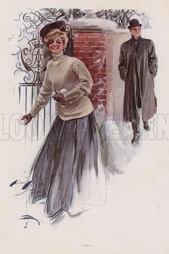 Young woman waiting to throw snowballs at a man. Illustration from Pictures in Color (Charles Scribner's Sons, New York, 1910).