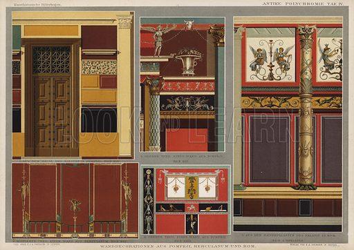 Wall decorations from Pompeii, Herculaneum and Rome. Illustration from Kunsthistorische Bilderbogen (E A Seemann, Leipzig, 1887).