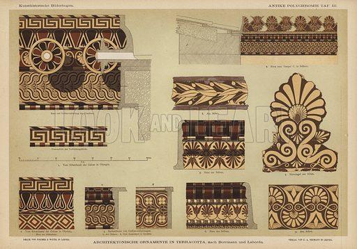 Architectural ornamentation in terracotta. Illustration from Kunsthistorische Bilderbogen (E A Seemann, Leipzig, 1887).