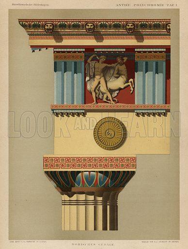 Doric entablature. Illustration from Kunsthistorische Bilderbogen (EA Seemann, Leipzig, 1887).
