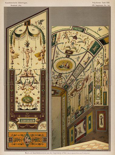 Painted walls and vaulted ceiling in the Castel Sant'Angelo, Rome. Illustration from Kunsthistorische Bilderbogen (EA Seemann, Leipzig, 1889).