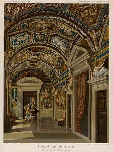 Interior of the Palazzo Doria, Genoa, Italy. Illustration from Kunsthistorische Bilderbogen (EA Seemann, Leipzig, 1887).