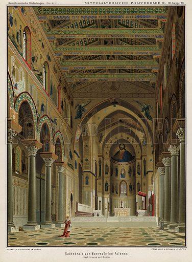 Interior of Monreale Cathedral, Palermo, Sicily, ItalyIllustration from Kunsthistorische Bilderbogen (EA Seemann, Leipzig, 1887).