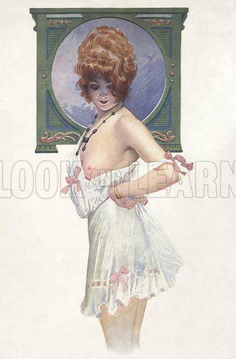 Semi-naked woman in her underwear. Illustration from Paris Girls (Librairie de l'Estampe, Paris, 1917).