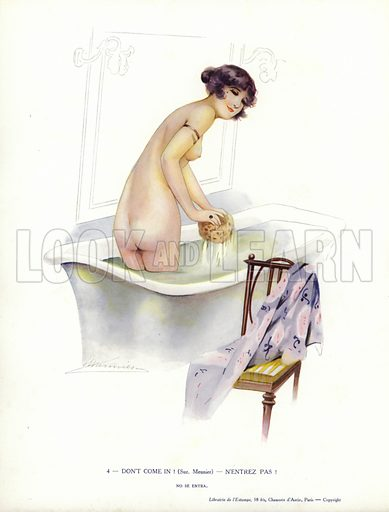 Woman washing in the bath. Illustration from Paris Girls (Librairie de l'Estampe, Paris, 1917).
