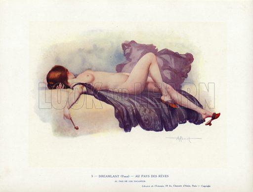 Woman reclining naked on a bed. Illustration from Paris Girls (Librairie de l'Estampe, Paris, 1917).
