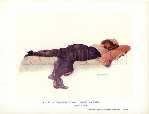 Woman sleeping on a bed. Illustration from Paris Girls (Librairie de l'Estampe, Paris, 1917).